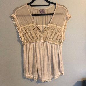 Free People: Boho Lace Babydoll Shirt